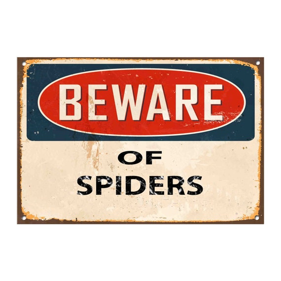 Vintage Metal Wall Sign Beware of the tarantula