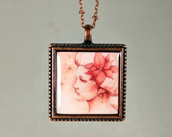 """Woman with Poinsettia Pendant and Chain Watercolor Reproduction """"Tidings of Comfort"""" Copper Necklace"""