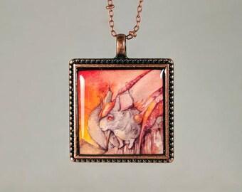 """Chinchilla Dragon Pendant and Chain Watercolor Reproduction """"Chinchilladrag"""" Copper Necklace"""