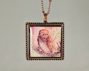 Pygmy Owl Pendant and Chain Watercolor Reproduction Copper Necklace