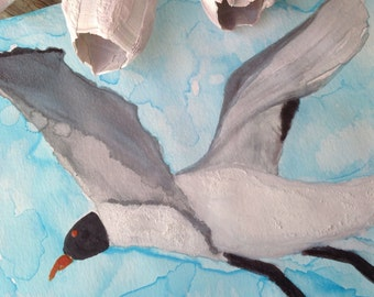 Tropical Watercolor Art Painting of Seagull in Flight called Seagull in the Clouds