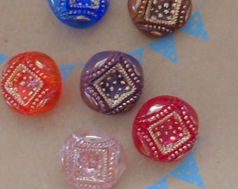 Germany US Zone Vintage German Buttons Clear Glass Foil Back Choose 18mm or 27mm 24 Pcs