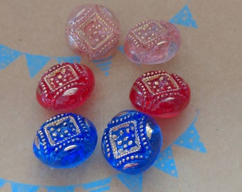 Set 12 vintage West German glass Blue and White striped vintage buttons old