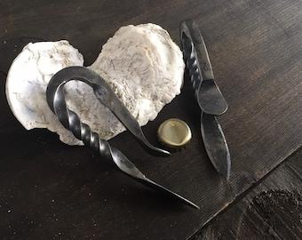 Hand forged Georgia oyster shucker w/ bottle opener