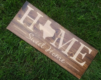 Texas Sign Home Sweet Decor Love Rustic State Art 9x24