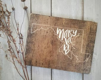 Maryland Sign Decor Love Home Rustic State Art 9x11