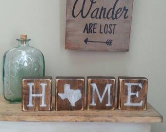 Rustic Texas Blocks REVERSIBLE Decor Gift Sign Love Home TX 35x14