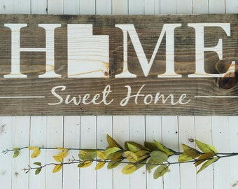 Utah Home Sweet Sign Decor Love Rustic State Art 9x24