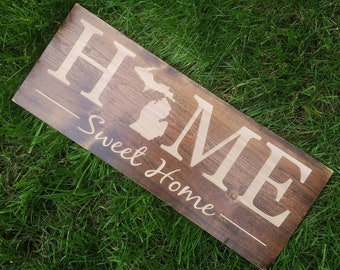 Michigan Sign Home Sweet Decor Love Rustic State Art 9x24