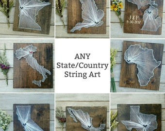 Cotton Anniversary Gift for her Cotton Anniversary gift for him state string art sign 2nd Anniversary Gift Long distance boyfriend gift