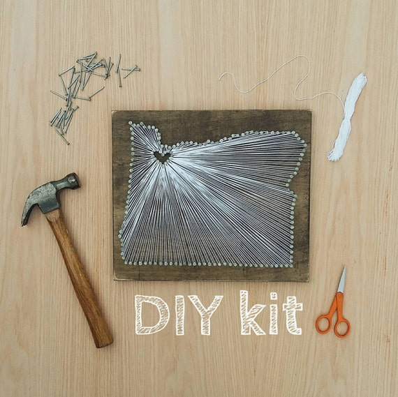 Diy Oregon String Art Kit State String Art Kit Oregon Nail Etsy
