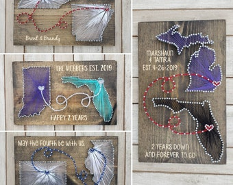 Two State Cotton Anniversary Gift For Him State String Art Cotton Anniversary Gift For Her 2nd Anniversary gifts for men Second Anniversary