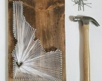 Idaho String Art, Idaho Decor, State string Art, Idaho Nail Art, Idaho Gift, Rustic Decor, custom sign, Idaho love, Idaho home, ID, 9x14