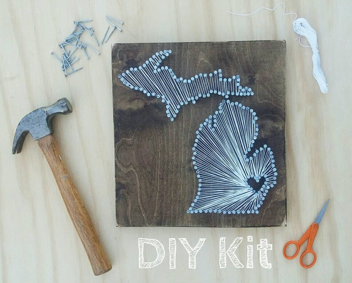 DIY Michigan String Art Kit State String Art Kit Michigan | Etsy