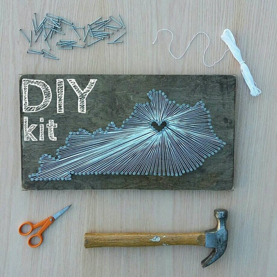 DIY Kentucky String Art Kit, State string Art Kit, Kentucky Nail Art ...