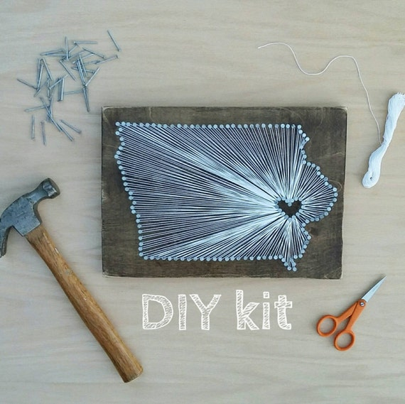 DIY Iowa String Art Kit State string Art kit Iowa Nail Art