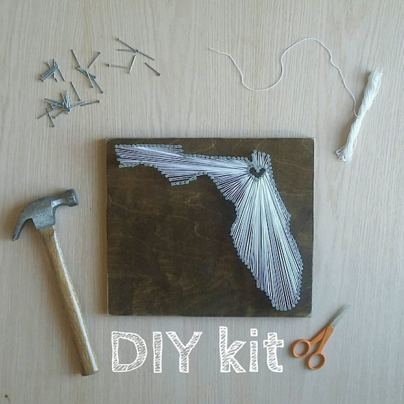 Diy Florida String Art Kit State String Art Kit Florida Nail Etsy