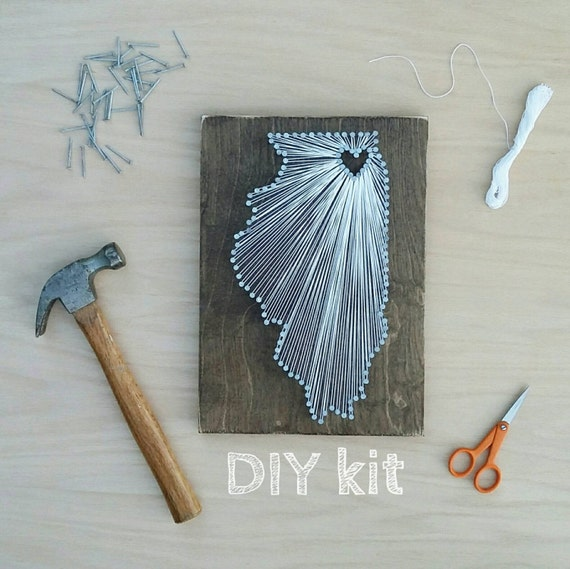Diy Illinois String Art Kit State String Art Kit Illinois Etsy