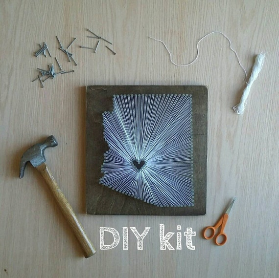 Diy Arizona String Art Kit State String Art Kit Arizona Nail Etsy