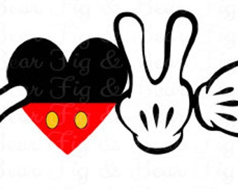 Love Disney Mickey Mouse Hands Valentines Mickey Mouse Etsy