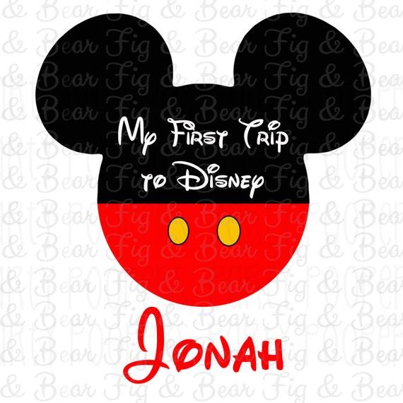 Mon premier voyage à Disney personnalisé Shirt Mickey Mouse de fer sur le transfert personnalisé gratuit pour les garçons