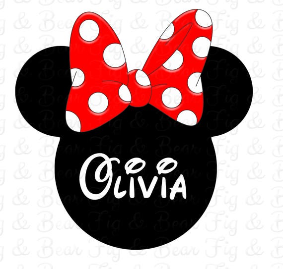 Minnie Mouse Red Bow Girls Disney Personalized With Name Shirt Etsy