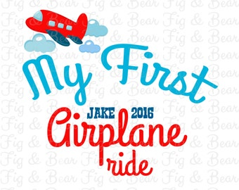 My First Airplane Ride Boys Personalized T Shirt or One-piece Iron On Transfer