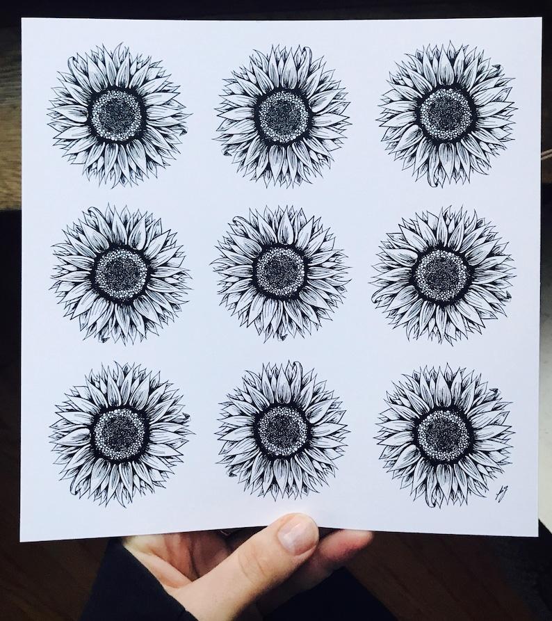 Impression Dart Tournesols Noir Fleur Blanche Illustration Etsy