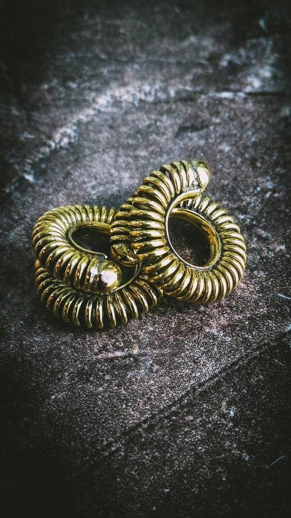Fantasy Festival Thailand White Brass OR Bronze Ethnic Boom Legend Tribal Mythology Cosplay Spiral Dragon Earrings GoT