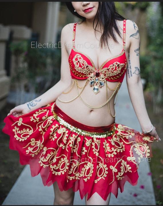 Red Jasmine Rave Bra costume. Halloween outfit Princess Jasmine Red Slave Jasmine Bra