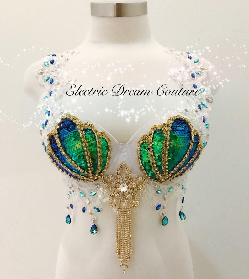 b0bba65c1c Princess Mermaid white V3 Iridescent Mermaid Bra Rave Bra