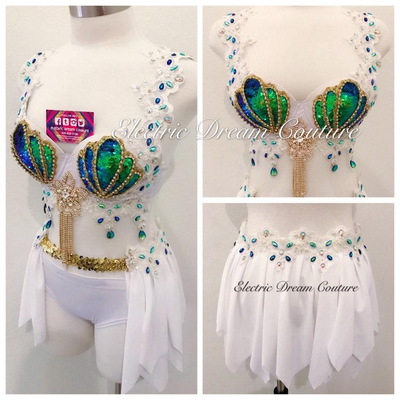 65257a787b Goddess Mermaid Outfit White V3 Iridescent Mermaid bra Rave
