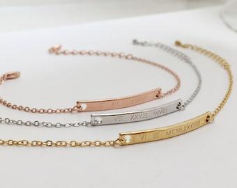 Customized Name Bar Bracelet- Roman Numeral Bracelet, Remembrance Jewelry, Couple Bracelets, Anniversary Gifts, Engraved Dates Bridesmaid