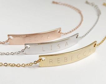 Custom Name Bar Bracelet: Custom Engraved Metal Bracelets, Personalized Bar Bracelet, Dainty Chain Bracelet, Unique Personalized Gifts