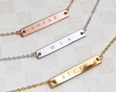 Engraved Necklaces- Name bar necklace, Personalized Engraved Necklace, Letter Necklace, Design your own Necklace, Custom Bar Necklace