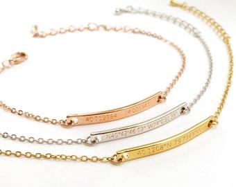 Customized Name Bracelet- Coordinates Bracelet, Customized Couple Bracelets, Latitude Longitude Bracelets, Location Bracelet