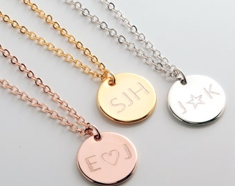 Customized Initial Disc Necklace: Coin Pendant Necklace, Personalized Engraved Necklace, Small Monogram Gift Valentines Day Ideas for Her