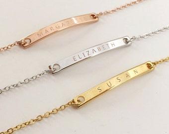 Engraved Bracelets: Monogram Initial Bracelet, Customized Couple Bracelets, Personalized Bar Bracelet, Bridesmaid Gift Ideas, Bride Gifts