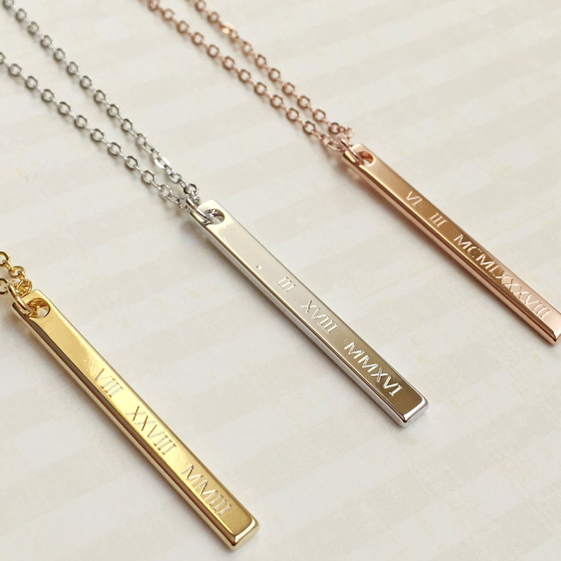 fcdd90413 Personalized Vertical Name Necklaces Roman Numeral Date image 0 ...