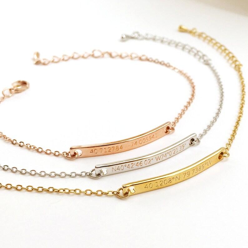 Customized Name Bracelet Coordinates Bracelet Customized image 0
