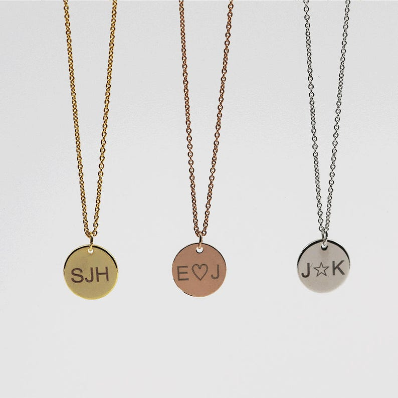 092ddd4a4df Customized Initial Disc Necklace: Coin Pendant Necklace, Personalized  Engraved Necklace, Small Monogram Gift Valentines Day Ideas for Her