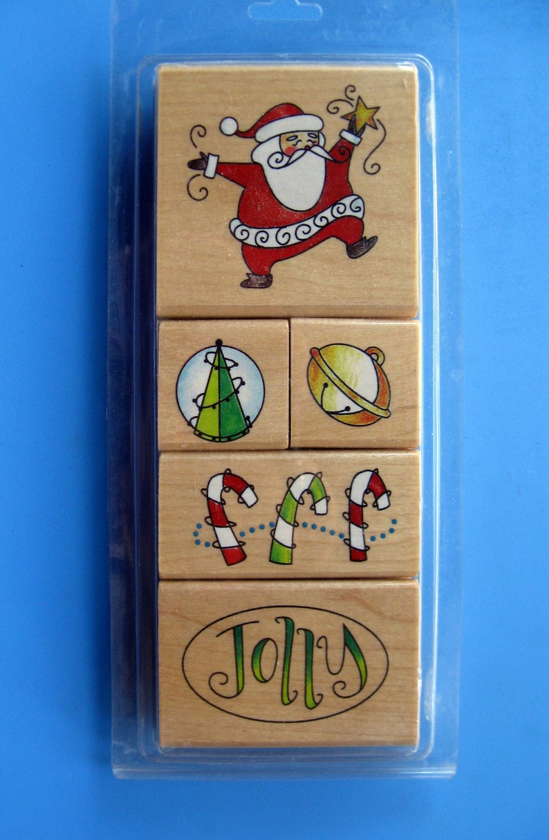 New! Jolly - Santa - Candy Canes - Jingle Bell - Christmas Tree JOLLY SANTA Set of 5 Christmas Holiday Rubber Stamps
