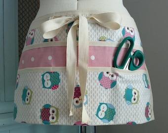 Six Pocket Cotton OWL Half Waist Apron, Gardening Apron, Garden Gift, Utility Apron, Teachers Apron, Vendors Apron, Craft Apron
