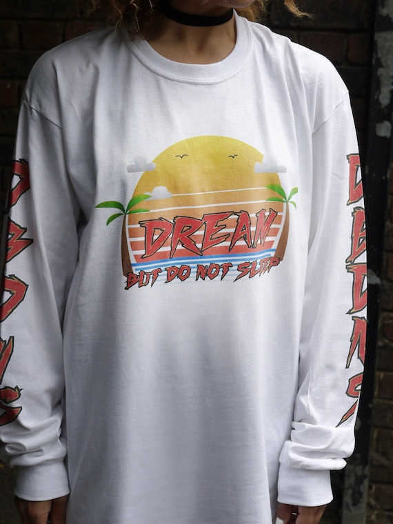 bb94ffe3c Baggy Oversized Colourful 90s Arcade Sunset Design On White Cotton Long  Sleeved Crew Neck T-shirt Summer Winter Festival Retro 100