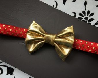 Gold Bow Baby girl headband, gold and red, bow headband, gold baby headband, gold, metallic, headband, polka dot headband, leather bow