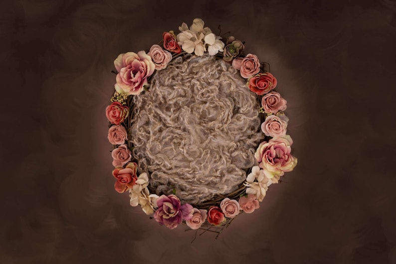 Rose floral nest newborn digital backdrop with curly wool