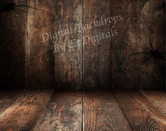 Wood floor and wood wall digital background backdrop butterfly stamped