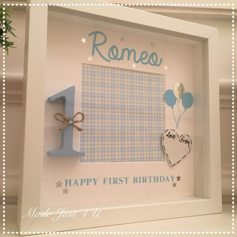 Boys Personalised Happy 1st Birthday Heart  Keepsake Gift