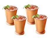 Mint Julep Cup with Drinking Straws Julep Cup Copper Bar Gift Set Cocktails Mixed Drinks Bartender Cocktail Set of 8 - 16 oz. Cups