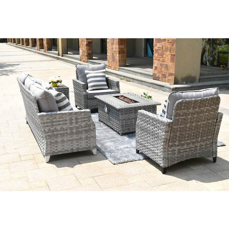 5-Piece Convention Sofa Set With Gas Fire Pit Coffee Table ...